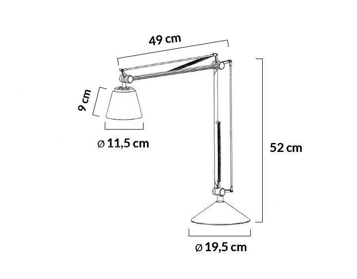 Lampa biurkowa RAYON ARM TABLE czarna - LED, klosz z akrylu