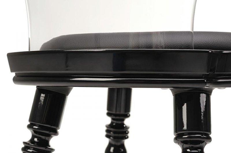Krzesło SLIP czarne - polipropylen, skóra ekologiczna