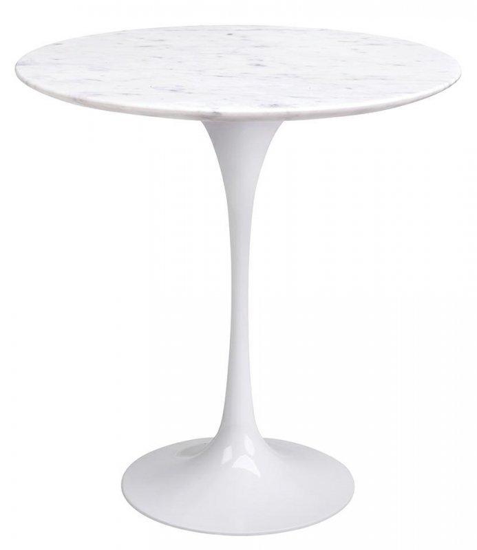 Stolik TULIP MARBLE CARRARA MINI biały - blat okrągły marmurowy, metal