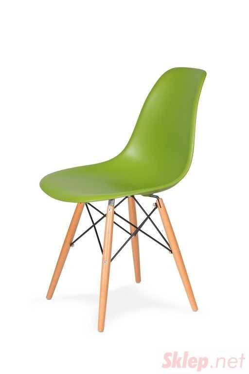 Krzesło DSW WOOD soczysta zieleń.13 podstawa drewniana bukowa