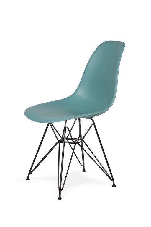 Krzesło DSR BLACK pastelowy turkus.29 - podstawa metalowa czarna