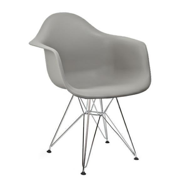 Fotel DAR SILVER szary.30 - polipropylen, podstawa chromowana