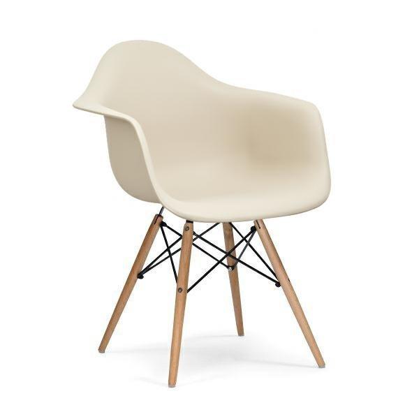 Fotel DAW beżowy.18 - polipropylen, podstawa bukowa