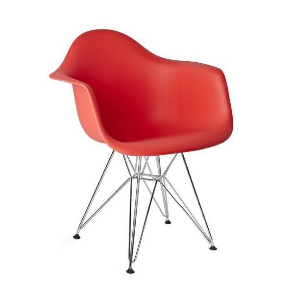 Fotel DAR SILVER krwista czerwień.06 - polipropylen, podstawa chromowana