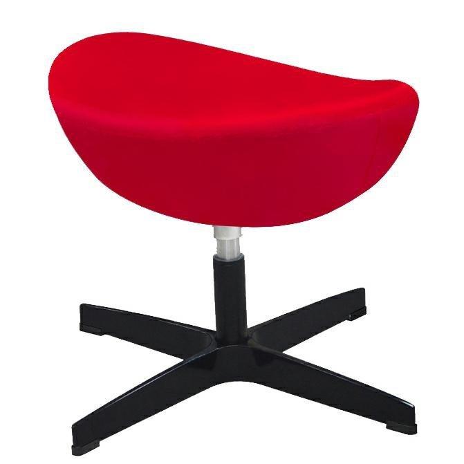 Fotel EGG CLASSIC VELVET BLACK czerwony z podnóżkiem - welur, podstawa czarna