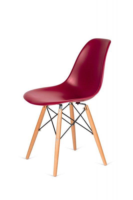 Krzesło DSW WOOD bordowe.36 - podstawa drewniana bukowa