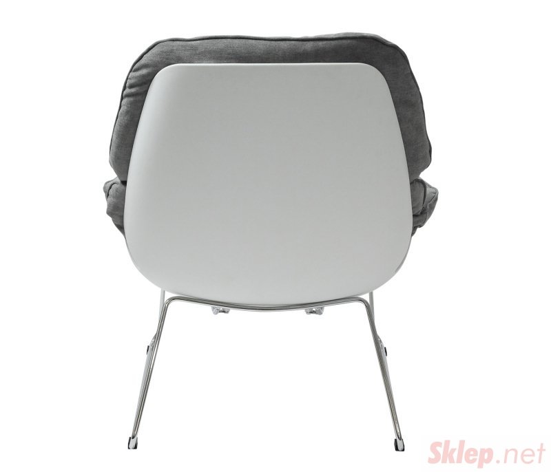 Fotel NINO jasno szary, płozy - polipropylen, podstawa chromowana