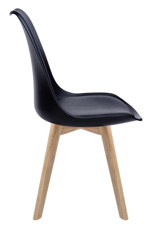 Krzesło NORDIC PREMIUM czarne - podstawa dębowa, poduszka z ekoskóry