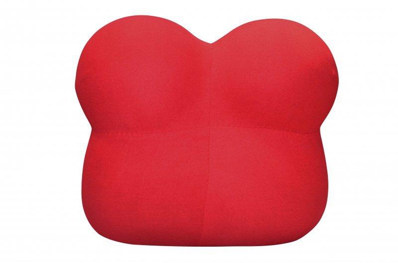 Fotel BIG MAMA z podnóżkiem - krwista czerwień, wełna