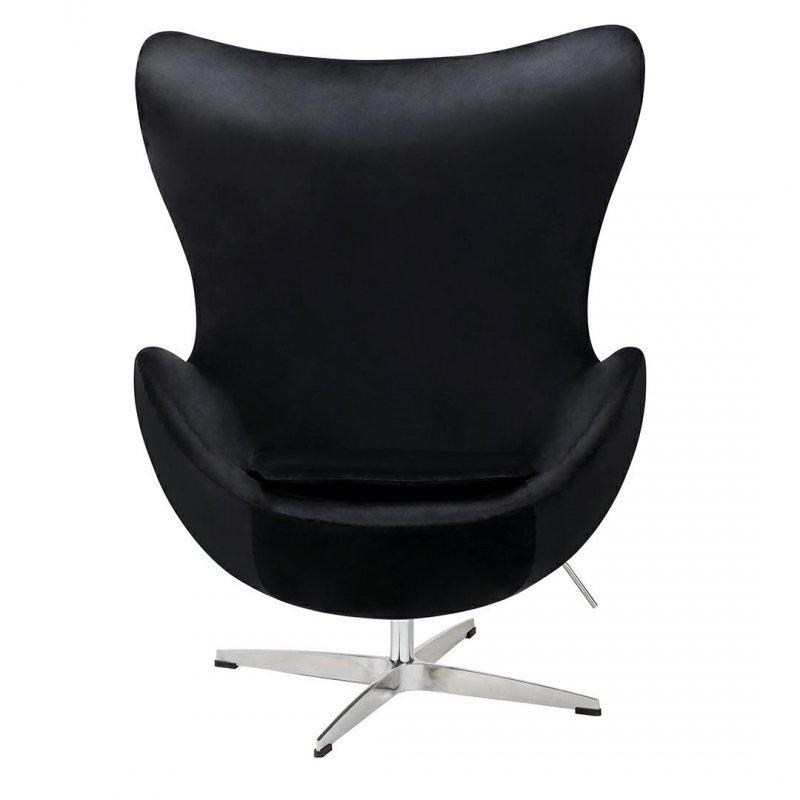 Fotel EGG CLASSIC VELVET czarny z podnóżkiem - welur, podstawa aluminiowa