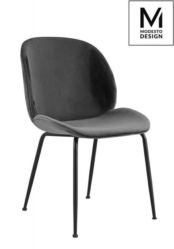 MODESTO krzesło SCOOP szare - welur, metal