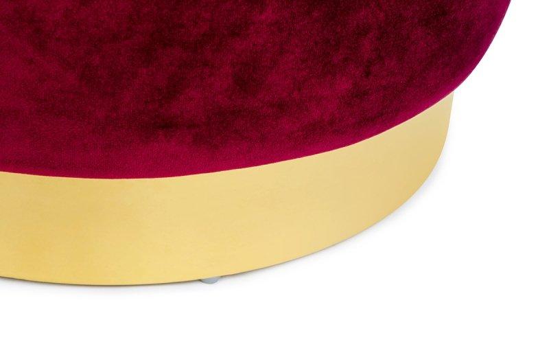 Pufa MARGO burgund - welur, podstawa złota
