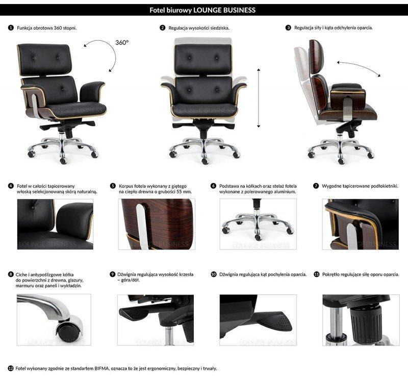 Fotel biurowy LOUNGE BUSINESS biały - sklejka jesion, skóra naturalna, stal polerowana