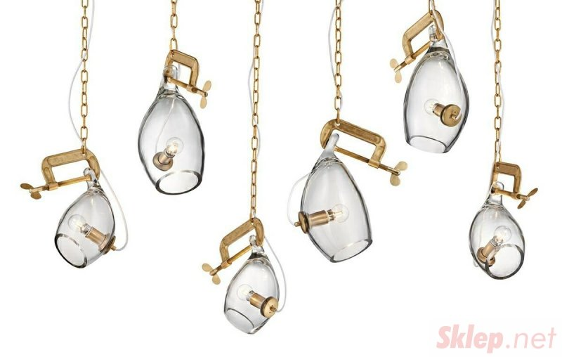 Lampa wisząca VICE mosiądz - metal, szkło