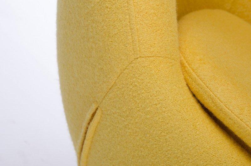 Fotel EGG SZEROKI żółty.5 - wełna, podstawa stal