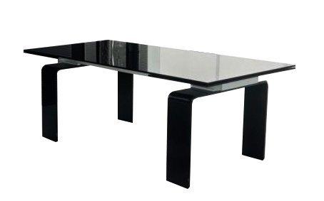 Stół szklany ATLANTIS BLACK 140/200 - rozkładany, szkło czarne