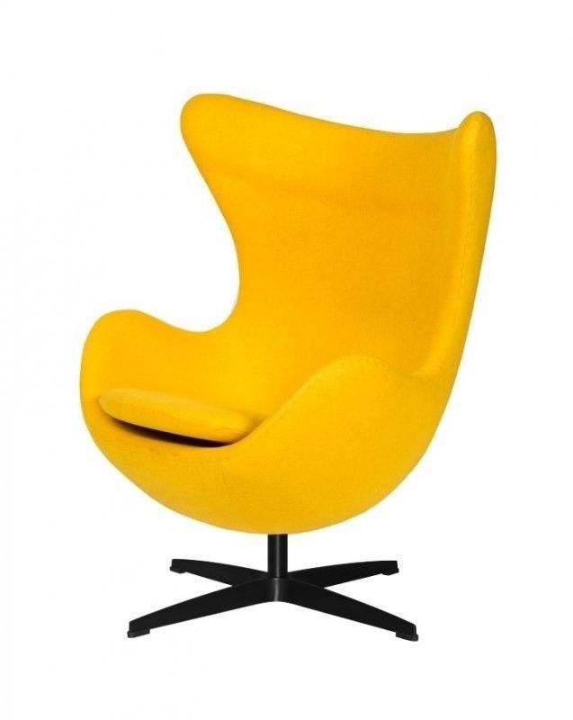 Fotel EGG CLASSIC BLACK żółty słoneczny.36 - wełna, podstawa czarna