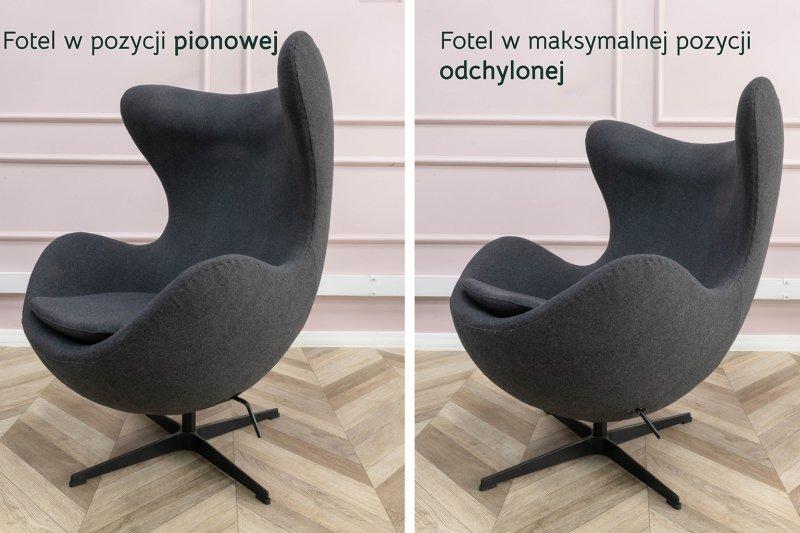 Fotel EGG CLASSIC BLACK musztardowy.21 - wełna, podstawa czarna