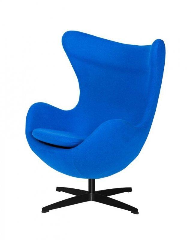 Fotel EGG CLASSIC BLACK chabrowy niebieski.33 - wełna, podstawa czarna