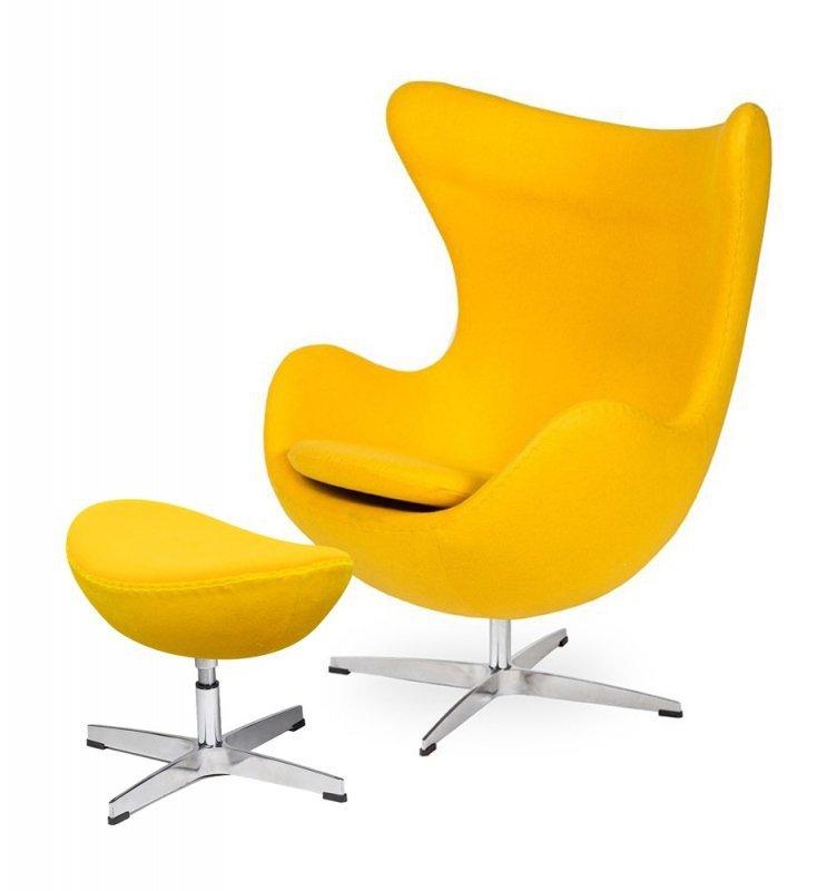 Fotel EGG CLASSIC z podnóżkiem  żółty słoneczny.36 - wełna, podstawa aluminiowa