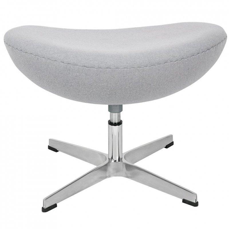 Fotel EGG CLASSIC z podnóżkiem szary popielaty.18 - wełna, podstawa aluminiowa