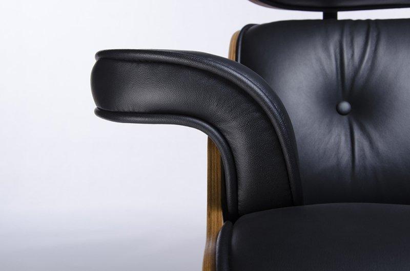 Fotel LOUNGE czarny z podnóżkiem  - skóra naturalna, sklejka orzech