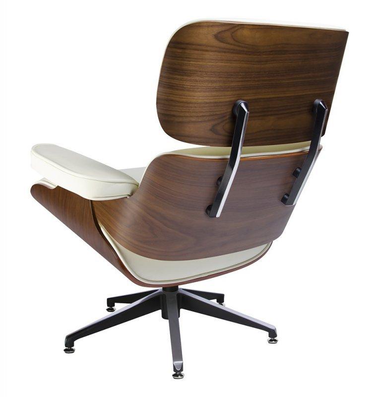 Fotel LOUNGE biały z podnóżkiem - skóra naturalna, sklejka orzech
