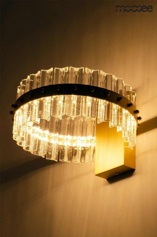MOOSEE kinkiet SATURNUS WALL złoty - LED, kryształ, stal szczotkowana