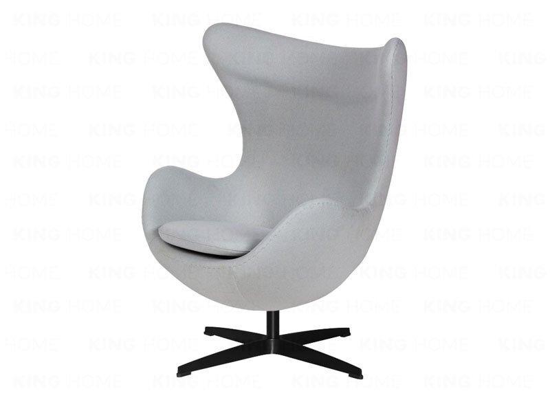 Fotel EGG CLASSIC BLACK z podnóżkiem  - szary popielaty.18, podstawa czarna
