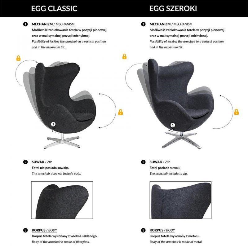 Fotel EGG CLASSIC BLACK z podnóżkiem  - marchewkowy.38, podstawa czarna