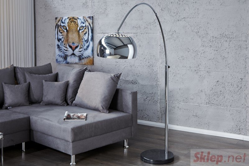 INVICTA lampa podłogowa BIG BOW II  chromowana - 170-205 cm