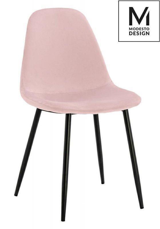 MODESTO krzesło LUCY pudrowy róż - welur, metal