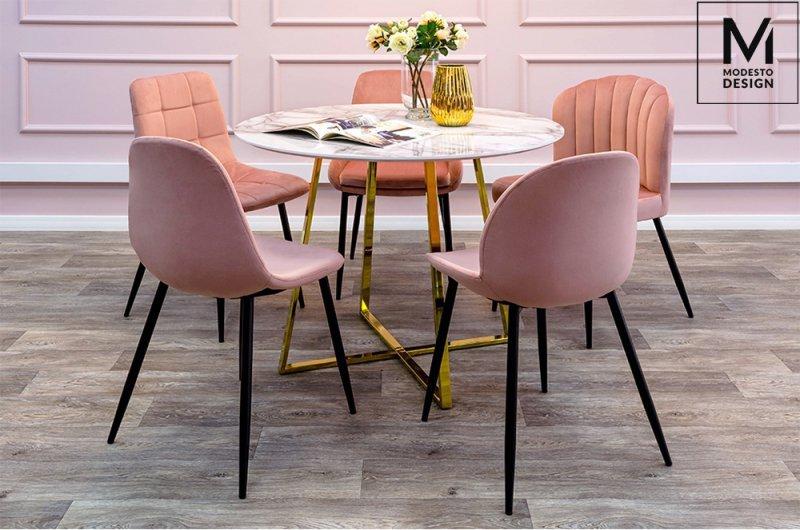 MODESTO krzesło RANGO różowe - welur, metal