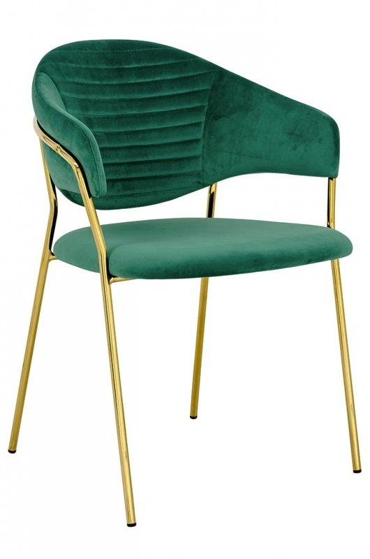 Krzesło NAOMI zielony - welur, podstawa złota
