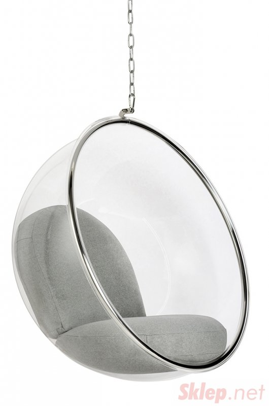 Fotel wiszący BUBBLE poduszka jasnoszara - korpus akryl, poduszka wełna