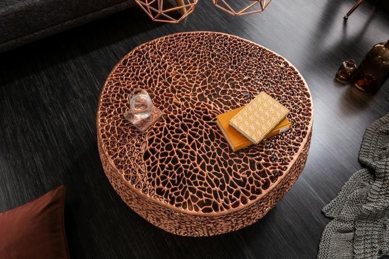 INVICTA stolik kawowy LEAF 80 miedziany - metal