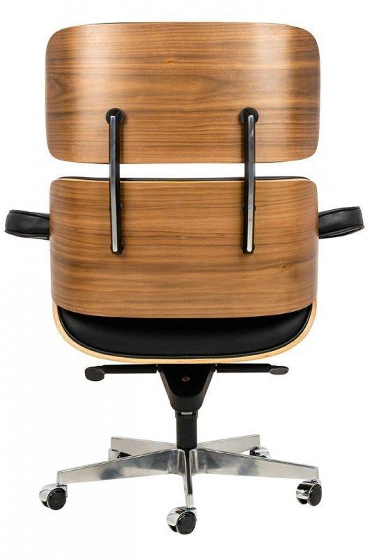 Fotel biurowy LOUNGE GUBERNATOR czarny - sklejka orzech, skóra naturalna, stal polerowana