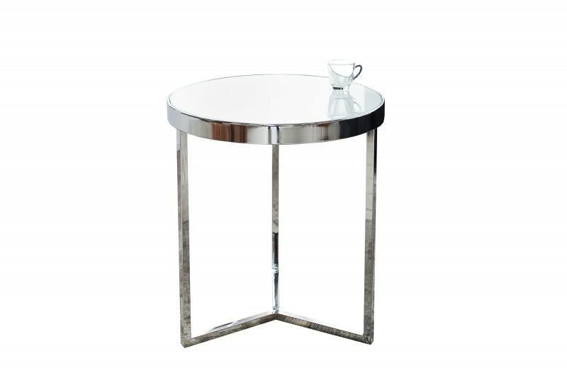 INVICTA stolik ART DECO 50 cm srebrny - szkło, metal
