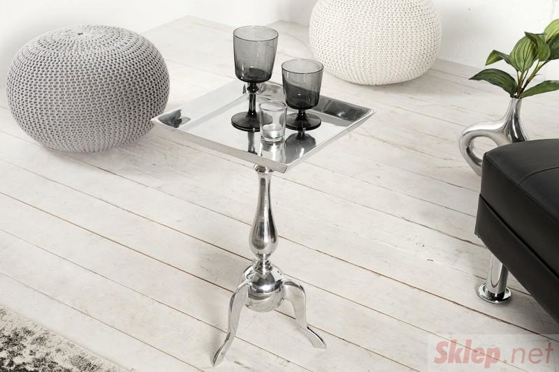 INVICTA stolik JARDIN SQUARE srebrny - aluminium