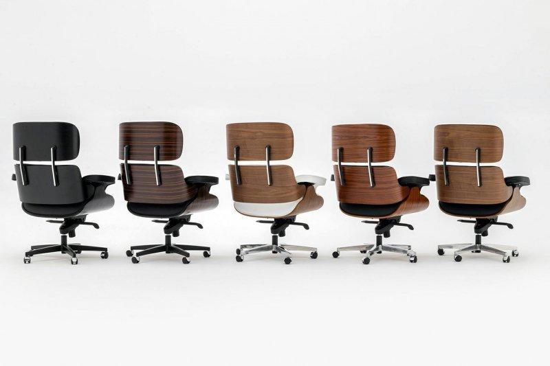 Fotel biurowy LOUNGE GUBERNATOR czarny - heban, skóra naturalna, podstawa czarna