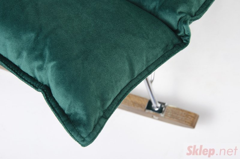 Fotel bujany SWING VELVET ciemny zielony - welur, stal chromowana, drewno dębowe
