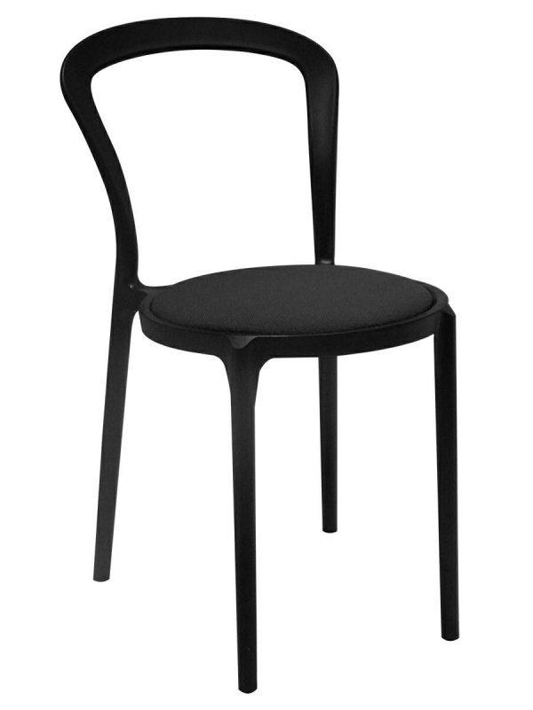 Krzesło SLIM czarne - polipropylen, tkanina