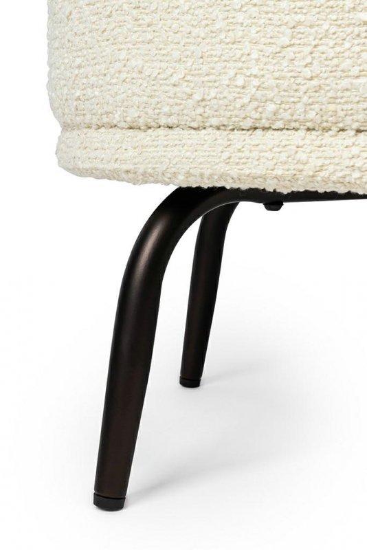 Fotel TEDDY GRAND z podnóżkiem beżowy - tkanina teddy, podstawa czarny opal