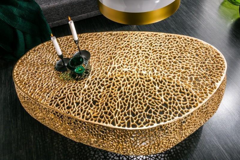 INVICTA stolik kawowy LEAF 120cm złoty - metal