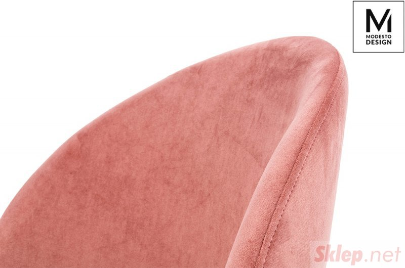 MODESTO krzesło NICOLE pudrowy róż - welur, metal
