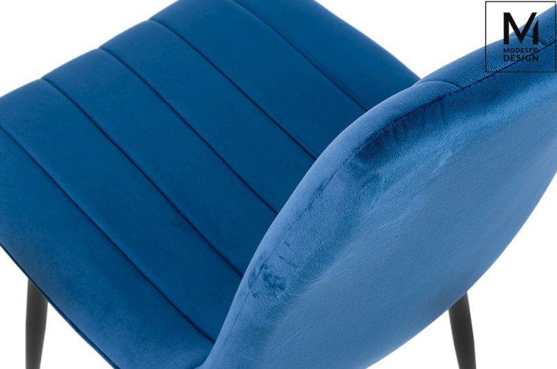 MODESTO krzesło LARA ciemny niebieski - welur, metal