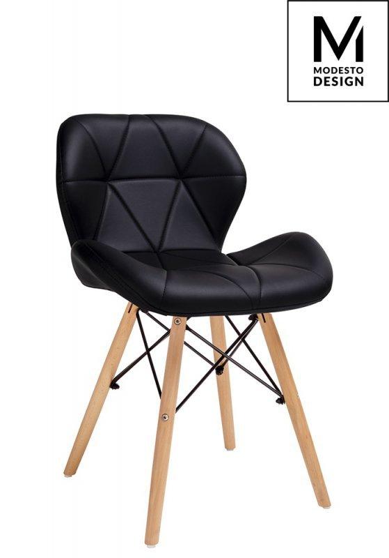 MODESTO krzesło KLIPP czarne - ekoskóra, podstawa bukowa