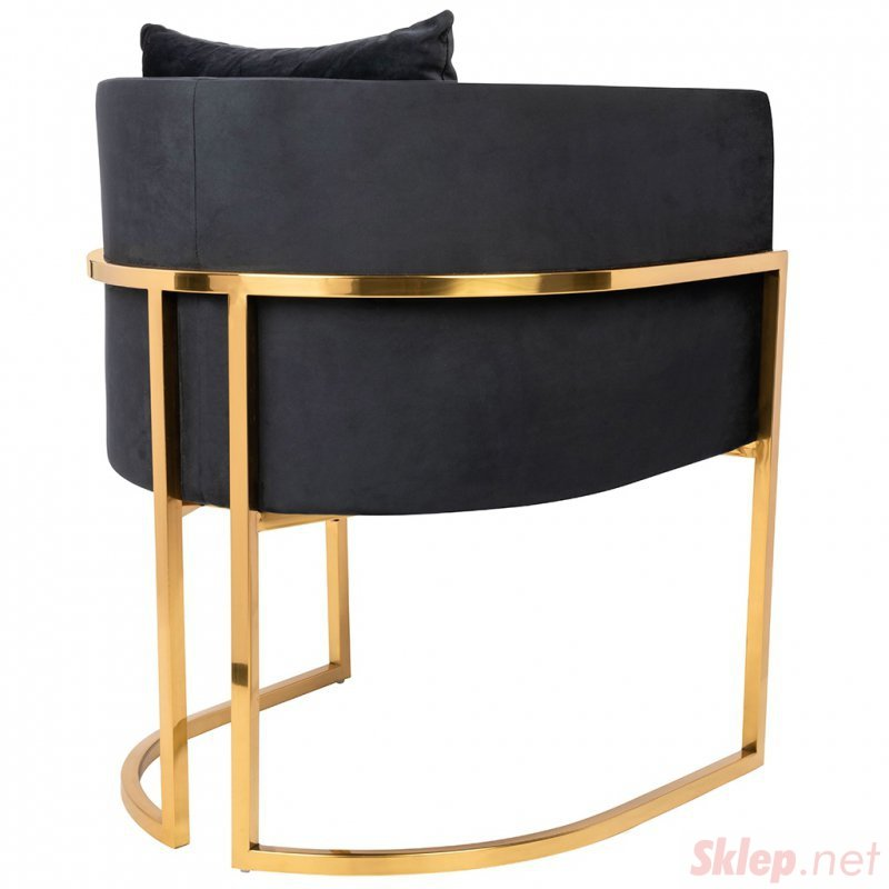 Fotel CHLOE VELVET czarny welur - chrom podstawa złota
