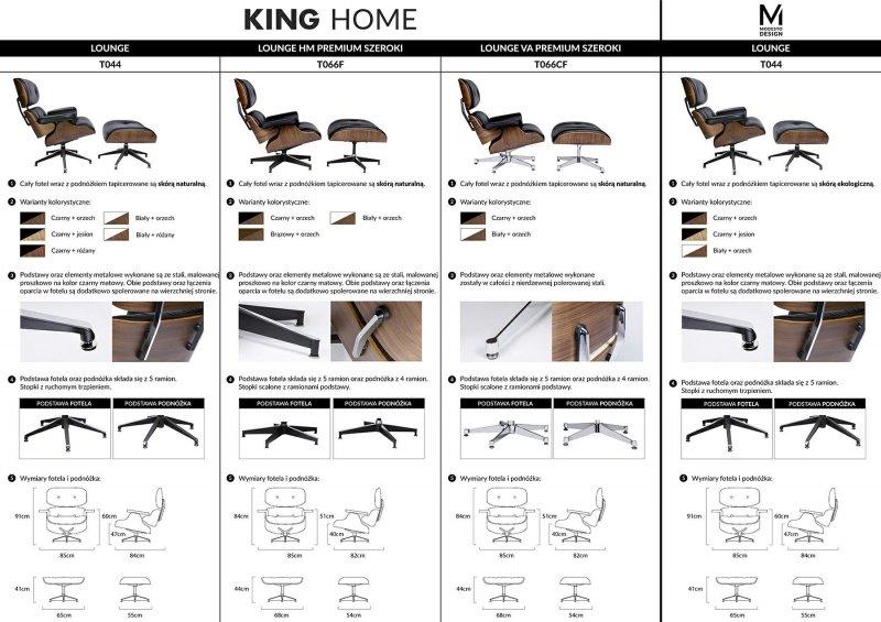 Fotel LOUNGE VA PREMIUM SZEROKI biały z podnóżkiem - sklejka orzech, skóra naturalna