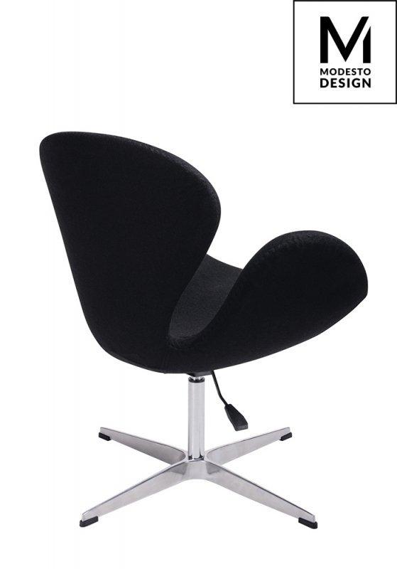 MODESTO fotel SWAN UP czarny, wełna - regulowana wysokość